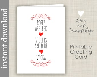 Vodka Love Card Printable Anniversary Roses Are Red Birthday