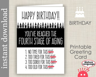 Printable Birthday Mature Card Funny Friend Over The Hill Download Diy