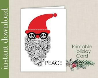Hippy Santa Printable Christmas Card, Peace Christmas Card Download