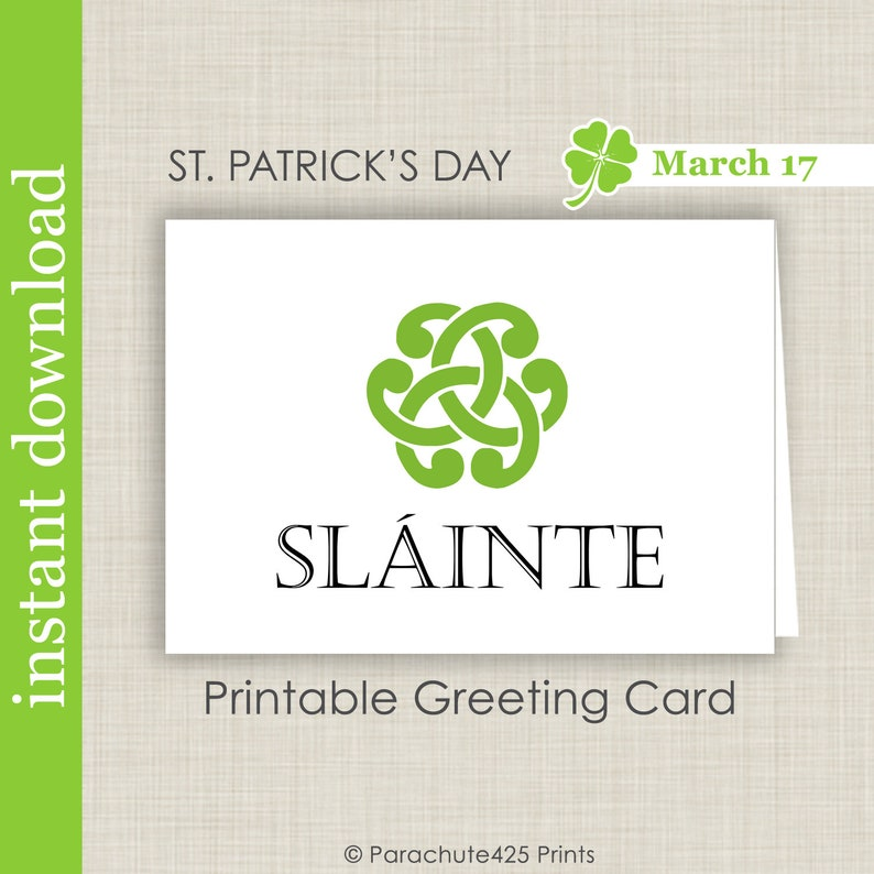 Sláinte, St Patrick's Day Printable Card, Irish Toast To Your Health Quote,  Irish Blessing