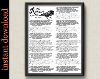The Raven complete poem printable, Edgar Allan Poe, Halloween art, Halloween party decor, Goth Art