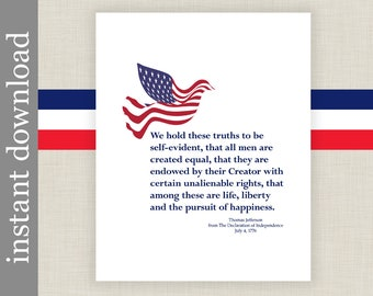 Declaration of Independence, Printable Patriotic Wall Art Decor or Gift for History Buff