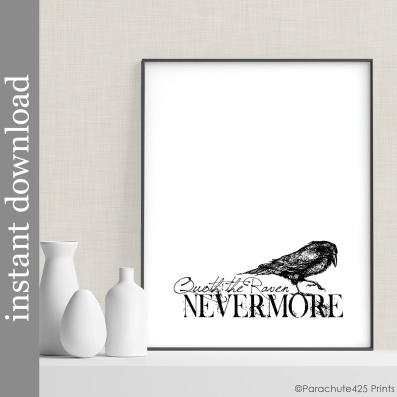 Nevermore Edgar Allan Poe Quote Printable Wall Art The Raven image 0