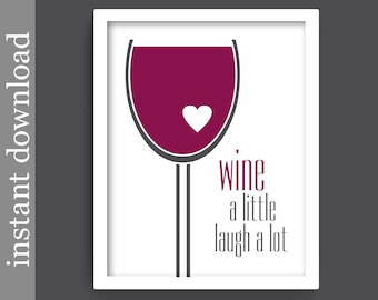 Wine Printable, wine download, wine decor, wine lover gift, alcohol print, bar art, wine art, wine glass art, wine print, burgundy and gray