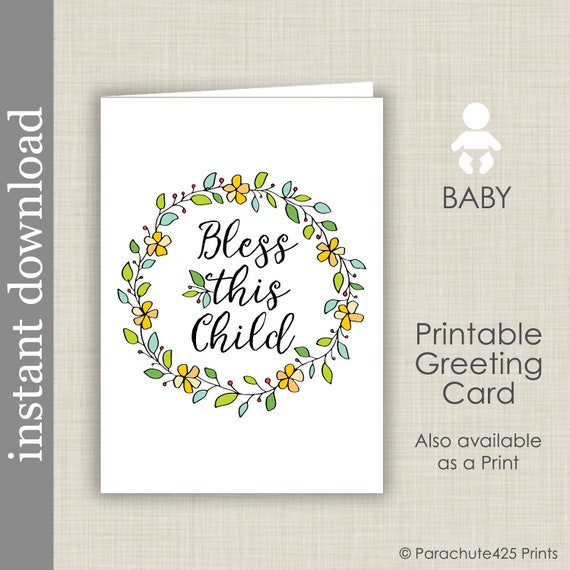 image relating to Baby Shower Card Printable identified as Kid Card Printable, little one shower card, child congratulations, Bless This Youngster, Christening card, little one estimate card, non secular kid, youngster card