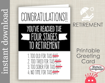 Retirement Card, Printable Card, funny retirement, boss retire card, co worker card, retirement printable, snarky, mature language, diy card