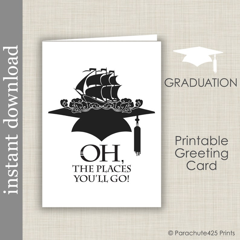 image about Graduation Cards Printable titled Printable Commencement Card, large university commencement, college or university commencement, Spots Youll Transfer, do it yourself card, printable card, card down load, graduate