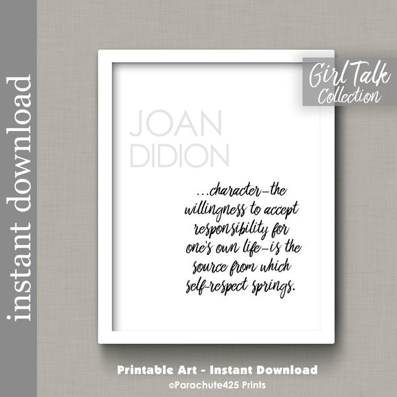 Joan Didion Quote Printable Wall Art Self Respect Quote Etsy