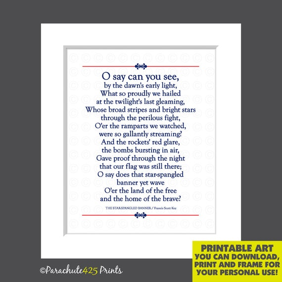 graphic about Star Spangled Banner Lyrics Printable known as Star Spangled Banner Printable Lyrics