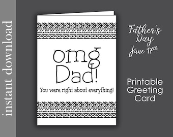 Printable Father's Day Card, funny dad card, dad birthday card, card for dad, snarky dad card, last minute card, fathers day download, omg
