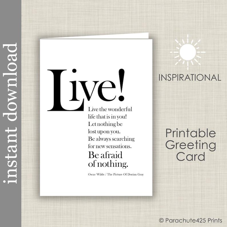 Oscar Wilde Inspirational Quote Printable Card Graduation image 0