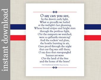 Star Spangled Banner Printable Lyrics