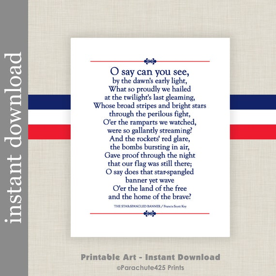 Candid image intended for national anthem lyrics printable