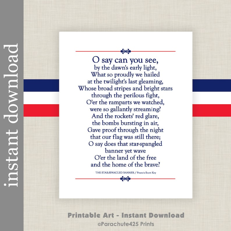 picture about Star Spangled Banner Lyrics Printable known as Star Spangled Banner Printable Lyrics