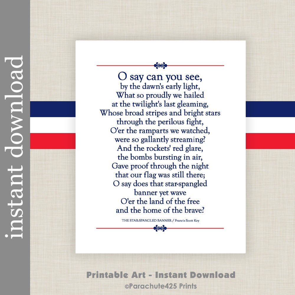 It is a graphic of Sassy Star Spangled Banner Lyrics Printable