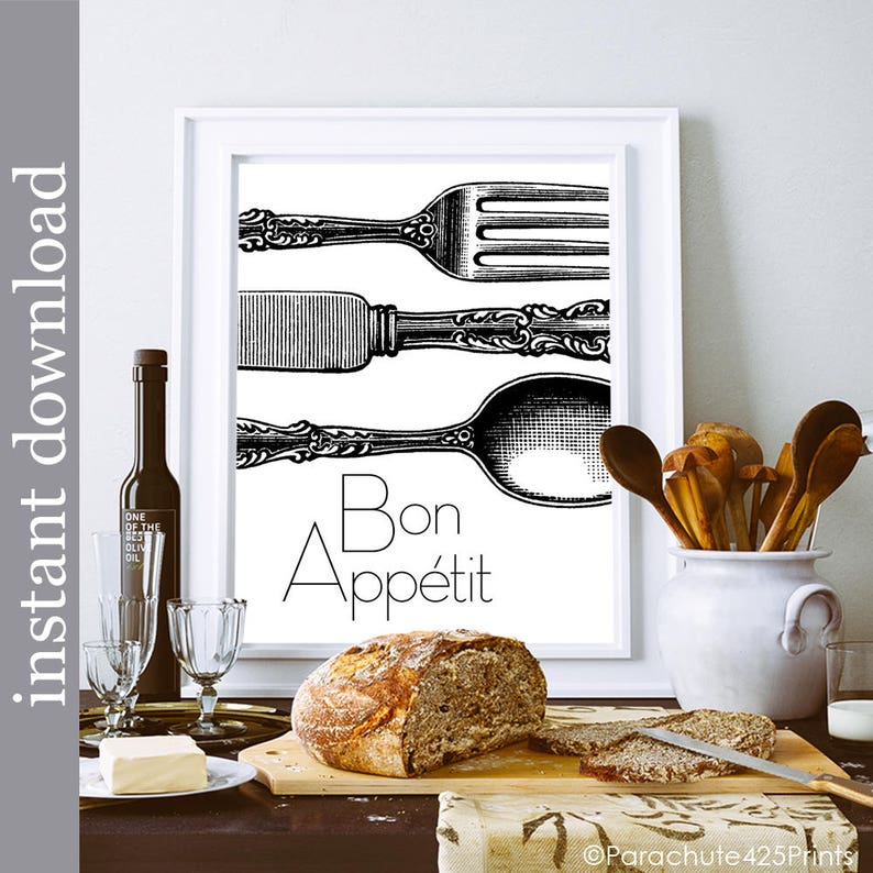 Bon Appetit Printable Kitchen Art Dining Room