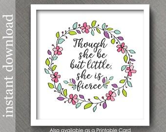 Nursery Wall Art, nursery printable, She Is Fierce, baby girl decor, nursery decor, baby quote, girl nursery, baby girl print, baby download