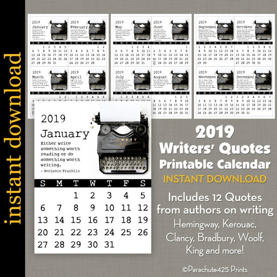 2019 Writer S Quote Printable Calendar Small Calendar Etsy