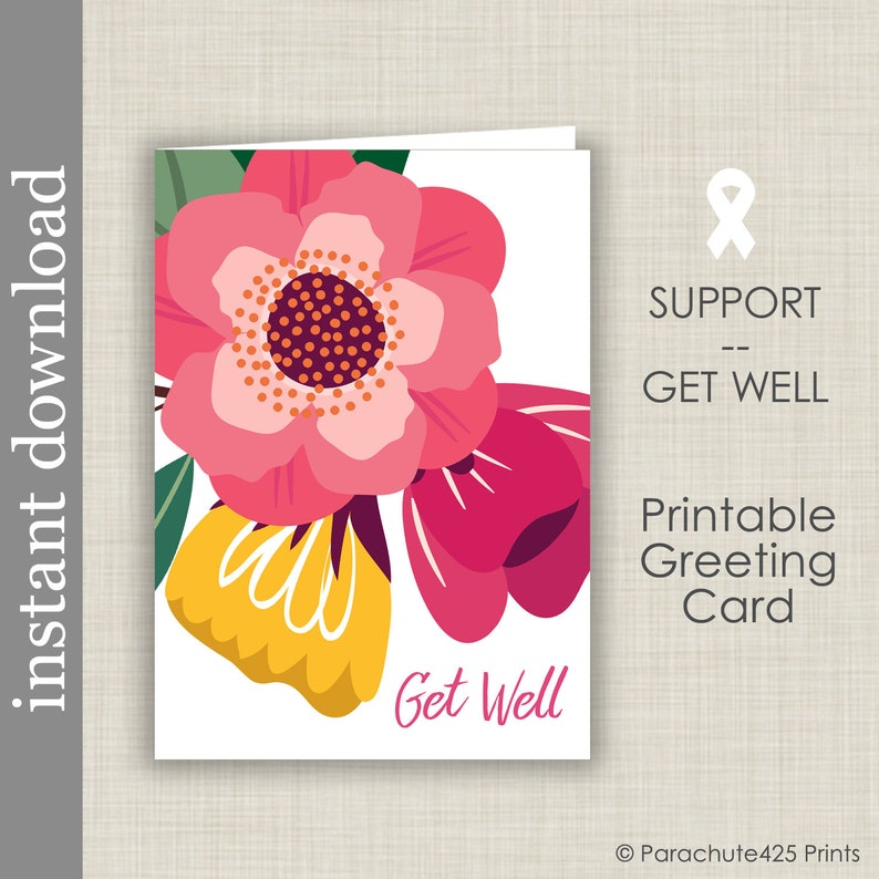 graphic regarding Printable Get Well Card called Printable Acquire Properly Card, generic choose very well card for most cancers help, co employee receive effectively card