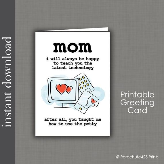 Mom Birthday Card Printable Mothers Day Funny