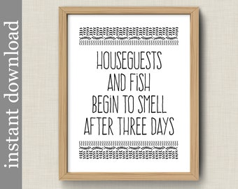 Printable Guest Room Wall Art, Houseguests and Fish, funny wall art for camper, vacation home, guest house, cabin decor, beach house
