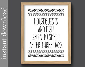 Printable Home Decor, Houseguests and Fish, guest room art, funny wall art, camper art, vacation home, guest house, cabin decor, beach house