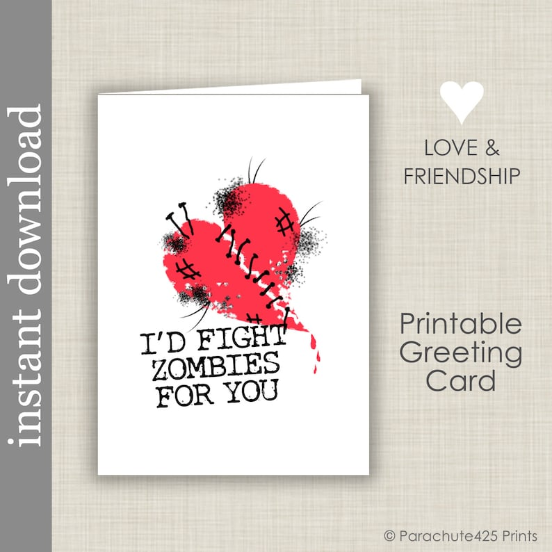 Zombie Anniversary Printable Card Card for Friend Zombie image 0