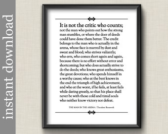 The Man In The Arena Roosevelt Quote, Instant Download, Graduation Gift, Boss's Day Gift, Inspirational Quote Print