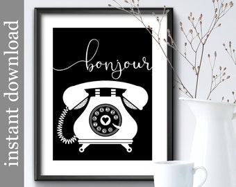 Bonjour Telephone Wall Art, printable vintage phone art for home or office decor