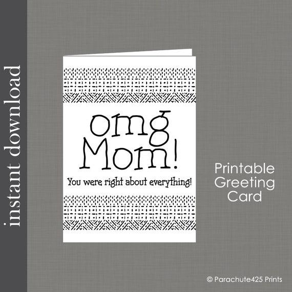 OMG Mom Birthday Card Printable Funny