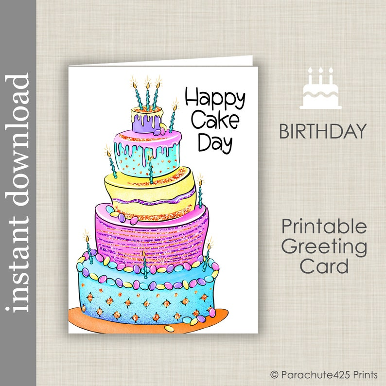 Happy Cake Day Printable Birthday Card Generic Celebration