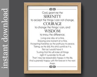 Full Serenity Prayer, serenity printable, inspiration print, encouragement, AA support, emotional support, digital download, serenity print