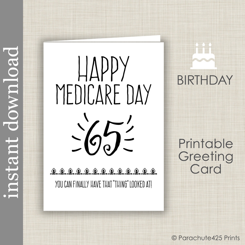 65th Birthday Printable Card Birthday Printable Medicare