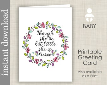 Baby Card Printable, She Is Fierce, baby shower card, baby girl card, baby congratulation, baby quote card, Shakespeare baby, card download