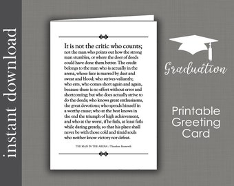 The Man In The Arena, Graduation Card, Printable Card, Father's Day Card, inspirational card, card for him, card for boss, Roosevelt quote