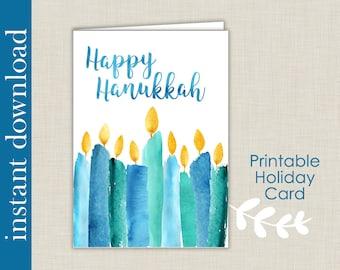Hanukkah Printable, Hanukkah Card, Happy Hanukkah, printable card, Hanukkah download, Hanukkah candles, festival of lights, instant Hanukkah
