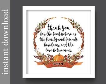 Printable Prayer, mealtime prayer, Thanksgiving Prayer, Thanksgiving decor, Fall decor, kitchen printable, dining room art, Fall wall art