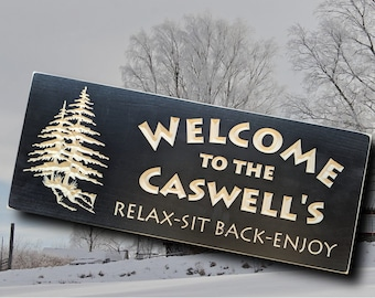 Personalized wooden Welcome sign, outdoor wood carved name plaque, Relax sit back enjoy with trees