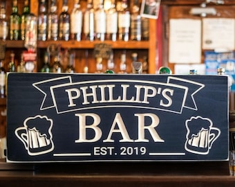 Wood Bar Sign,personalized gift,Black Carved Plaque with beer mugs, gifts for guys,Gift for Him, birthday gift