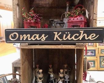 Personalized Kitchen Sign,Omas Küche,German grandmother gift, Christmas gift, Custom Grandma sign