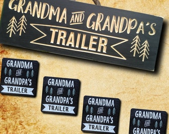 Wood camping coaster and personalized trailer sign,wooden grandma and grandpa gift, Christmas gift