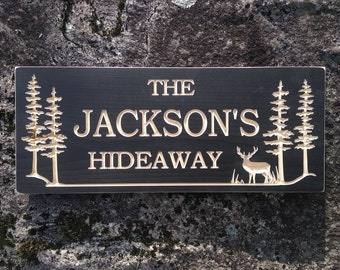 Outdoor wooden carved cabin sign,Personalized Family Name,custom lake house,cottage,home or campsite sign with trees and deer
