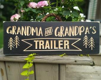 Grandma and Grandpa's sign, Personalized trailer sign, camping sign, Camping decor,grandparents sign,birthday gift, Christmas gift