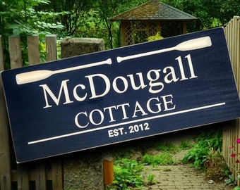 Family name sign, Wooden Cottage décor, personalized lake house sign, Carved Plaque with paddles, nautical wall art