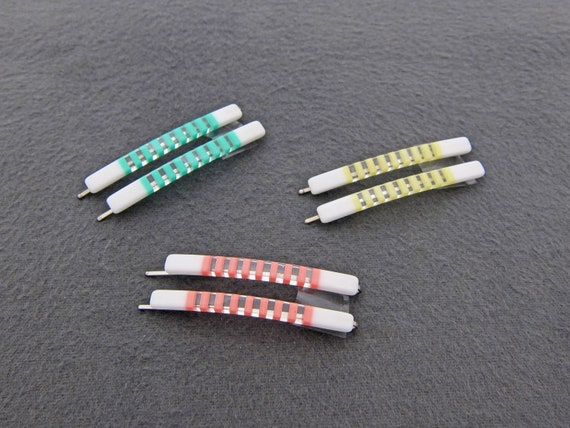 """1980's vintage bobby pins, 2.4"""" green/yellow/pink"""