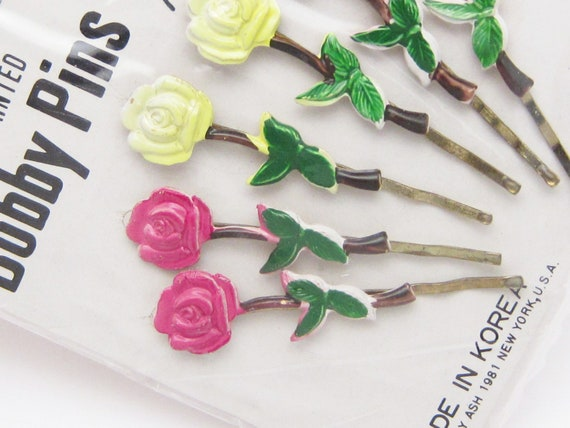 1980's vintage bobby pins, set of 6 hand-painted … - image 5