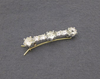 Vintage 60's rhinestone hair barrette clip, silver tone metal, pinch wire clasp