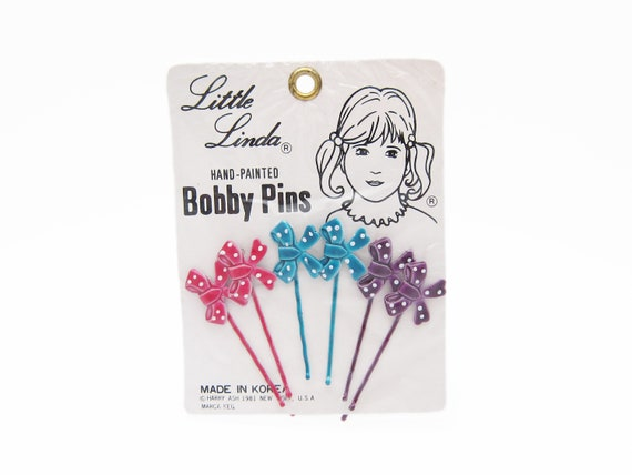 1980's vintage bobby pins, set of 6 hand-painted r