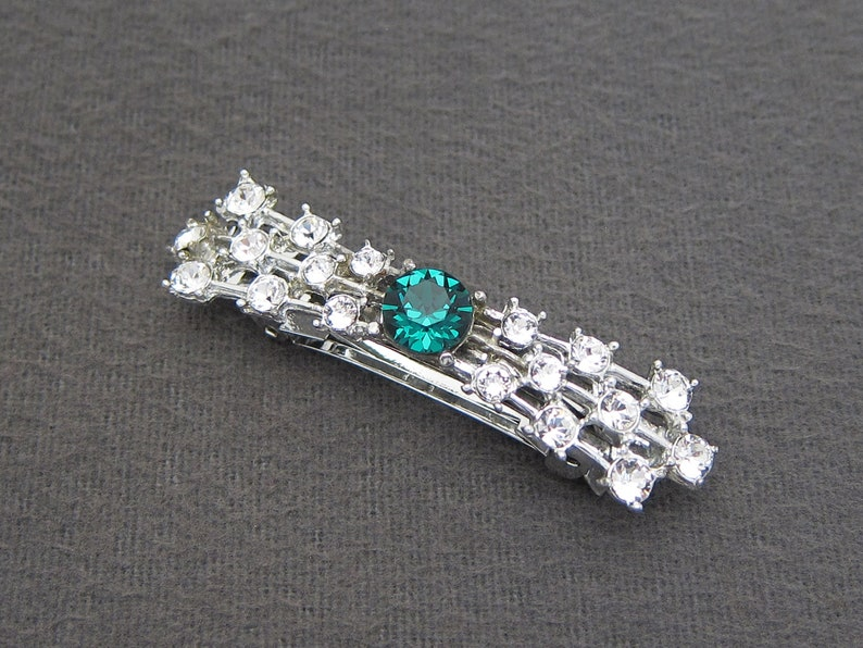 made in FRANCE automatic clasp 1960/'s vintage hair clip 2.3 silver-tone metal fancy BOW barrette w EMERALD green /& crystal rhinestones