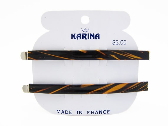 "Large KARINA 1980's vintage bobby pin PAIR, 3.6"" f"
